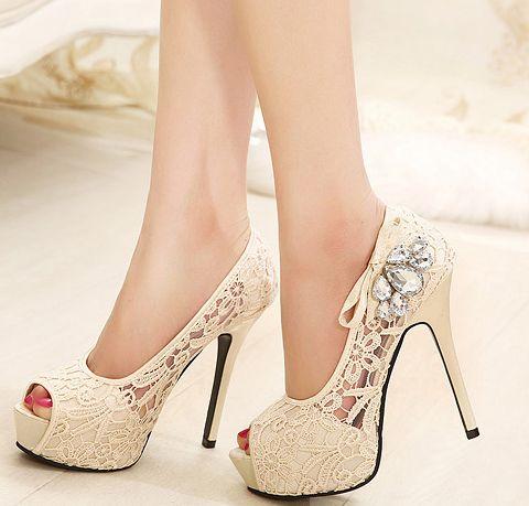 Mulheres bombas 2015 strass sapatos de casamento Sexy Lace Peep Toe plataforma de salto alto sapatos de noiva Zapatos Mujer feminino alishoppbrasil