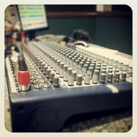 A sound desk at a local radio station