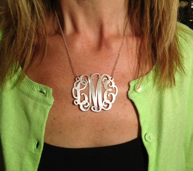 Sterling Silver XXL Large Monogram Necklace w/ 2? pendant| Large Pendant Monogram