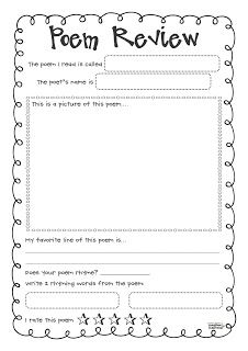 Creative Classroom: World Poetry Day FREEBIE!  Poem Review Sheet for Kids