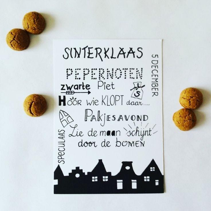 Handlettering Sinterklaas kaart wit