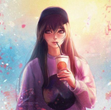 * - csinos, lány, gyümölcslé, anime