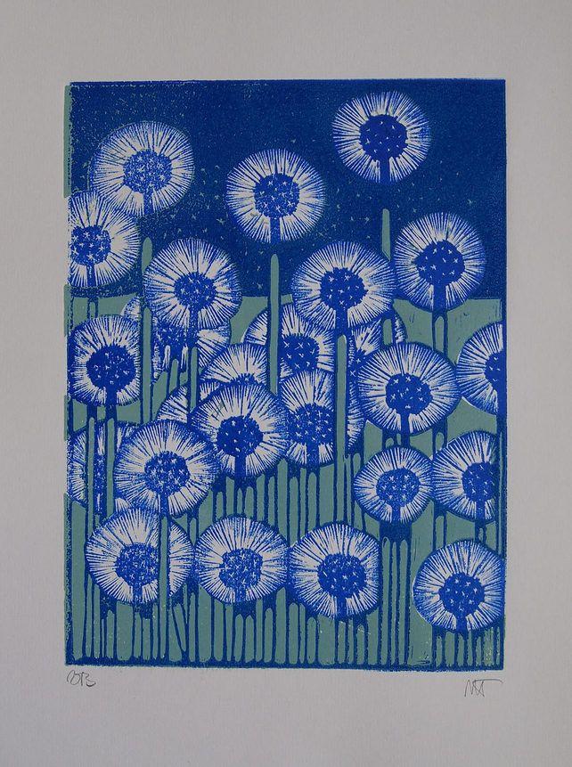 Dandelions - Lino Print.