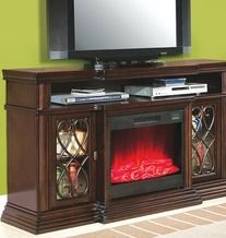 "60"" Media Walnut Electric Fireplace with Glass Doors from Big Lots $399.99 (PRICE CUT SAVE $100) >"