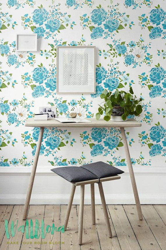 Rose Pattern Wallpaper Removable Wall