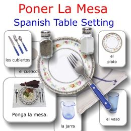 Setting the table in Spanish activity set with almost life-size items and matching flashcards -- $2 on TpT
