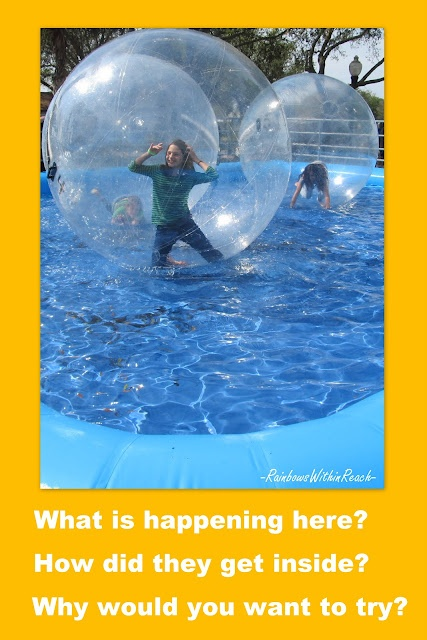 Writing photo prompt: kids in 'bubbles' rolling across the swimming pool