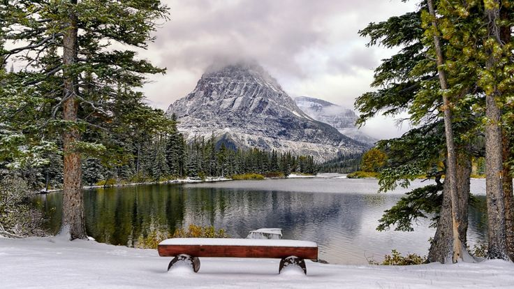 View Mountains Bench Trees Nature Lakes Mountain Winter Snow Lake HD Screensavers