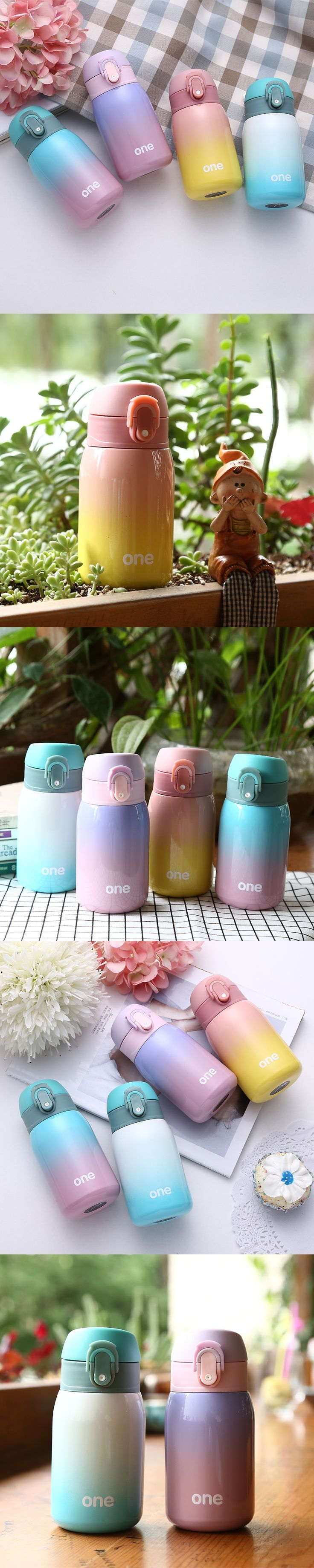 Gradient Color Hot water cup for Baby Stainless Steel Vacuum flasks Small Kettle Thermos bottle water feeding Cute Lovers Gifts