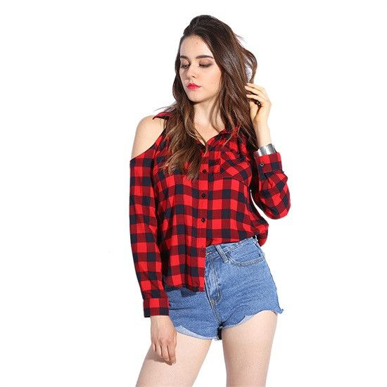 New Plaid Blouse Open Shoulder Women's Plaid Shirts Red Checkered Shirt Women Cold Shoulder Tops Red Checked Shirt Women