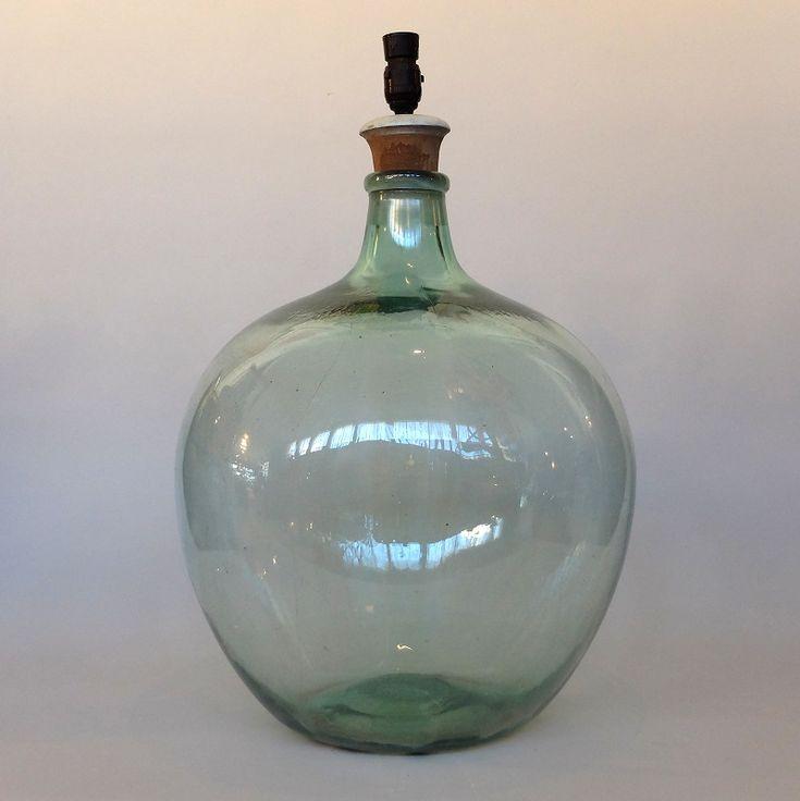 large green glass bottle lamp base (3)