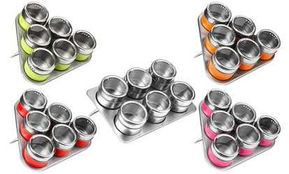 image for Six-Piece Spice Jar Set with Tray
