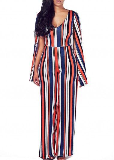 Stripe Print V Neck Cloak Design Jumpsuit  on sale only US$27.32 now, buy cheap Stripe Print V Neck Cloak Design Jumpsuit  at lulugal.com