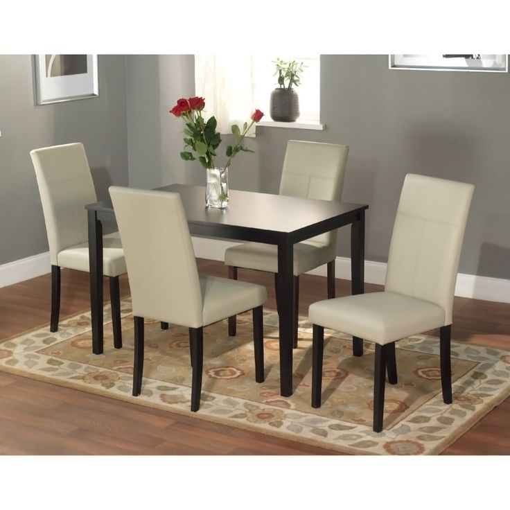 White chair five piece dining set new for Furniture 0 interest financing