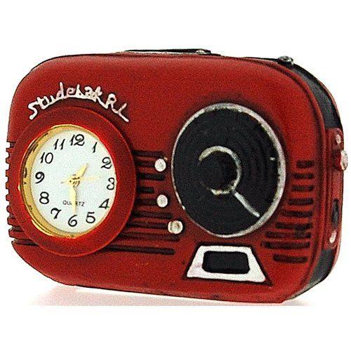 Miniature Red Transistor Radio Novelty Old Fashion Desktop Collectors Clock 9697