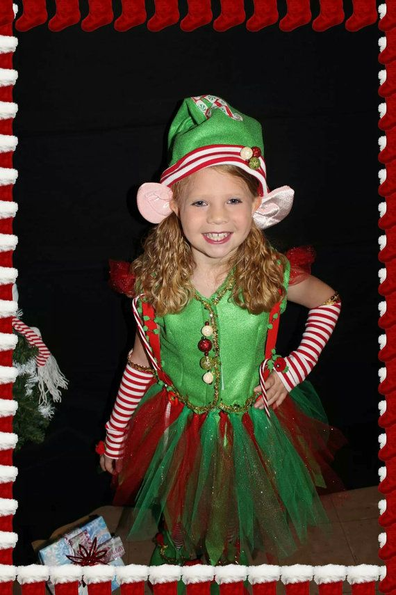 Christmas Elf, Girls Elf Costume, Santas Elf, Santas Helper, Pixie Girl Costume, Girls Dresses, Little Girls Dresses/MYSWEETCHICKAPEA Felt costume, tinsel trim, bells, ribb9n, suspenders, etc.   Girls 6 piece Elf Fairy Christmas costume. Easy adjustable skirt, vest, boxers, suspenders, shoes, hat, striped sleeves ☆☆☆Elf ears found at Walmart :)  Etsy has several shops that make realistic Elf ears. Just search Elf ears!!!!   This costume WON overall Best Costume in a Christmas Pageant 2014