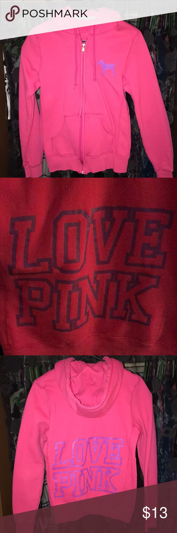 PINK Victoria Secret Love Pink Zip Up Hoodie PINK Victoria Secret Love Pink Zip Up Hoodie Size: Small (This did not have the back size tag when I got it.) Worn a couple times, mainly for snowboarding.  Images and words are in purple. In great condition!  Open to offers! PINK Victoria's Secret Tops Sweatshirts & Hoodies