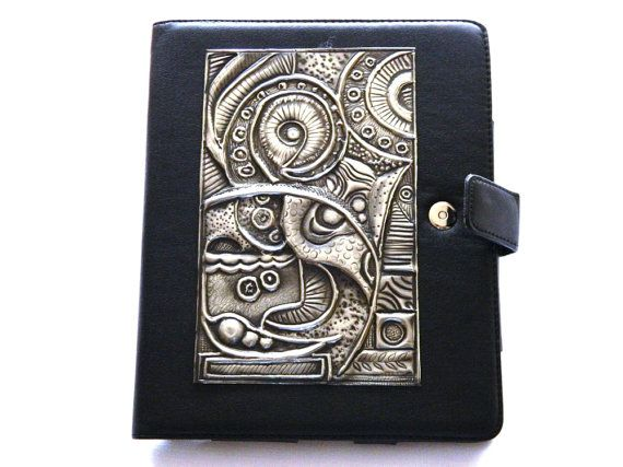 Leather iPad Case Modern Abstract Pewter Design by Loutul on Etsy, £45.00