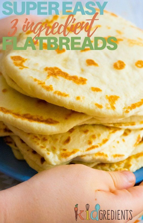 3 ingredient flatbreads, so easy to make, freezer friendly and kid friendly! No rising, no waiting, no baking just quick and simple! #kidgredients #kidsfood #bread #flatbreads #easy