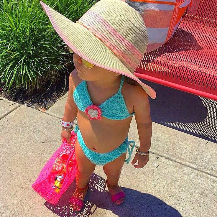 Crochet Baby Bikini Bathing Swim Suit Flower Spring Summer Accessory Handmade Infant Newborn Baby Toddler Photography Photo Prop Shower Gift