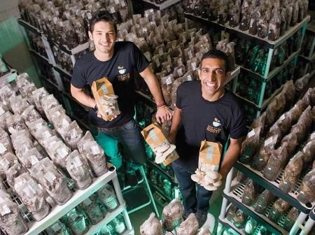 Full Cycle story.  Two guys use old coffee grounds as an ideal medium to grow gourmet mushrooms and keep more than a million pounds of waste out of landfills.