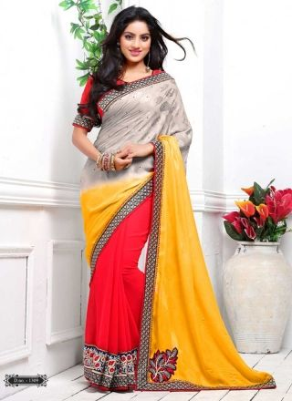 Deepika Singh Alluring Multicolored Jacquard Georgette Half N Half Saree