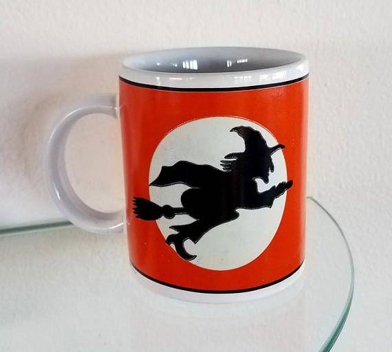 Vintage Halloween Witch on Broomstick Coffee Cup Mug Ceramic