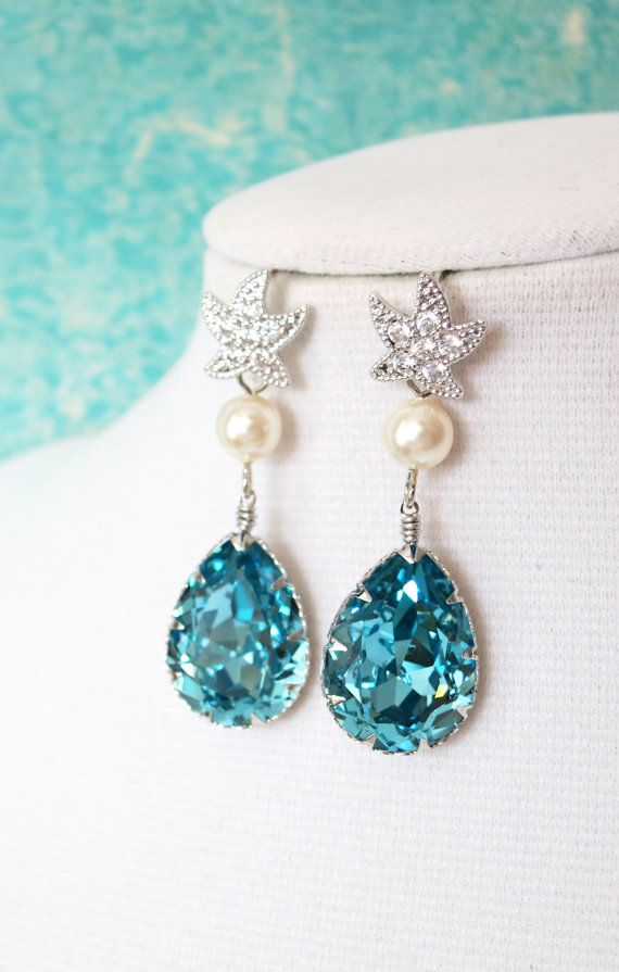 Starfish - Cubic Zirconia Starfish Aquamarine Swarovski Crystal Teardrop Earrings, gift for her, Bridal, Beach Wedding Earrings, Bridesmaids, by GlitzAndLove, www.glitzandlove.com