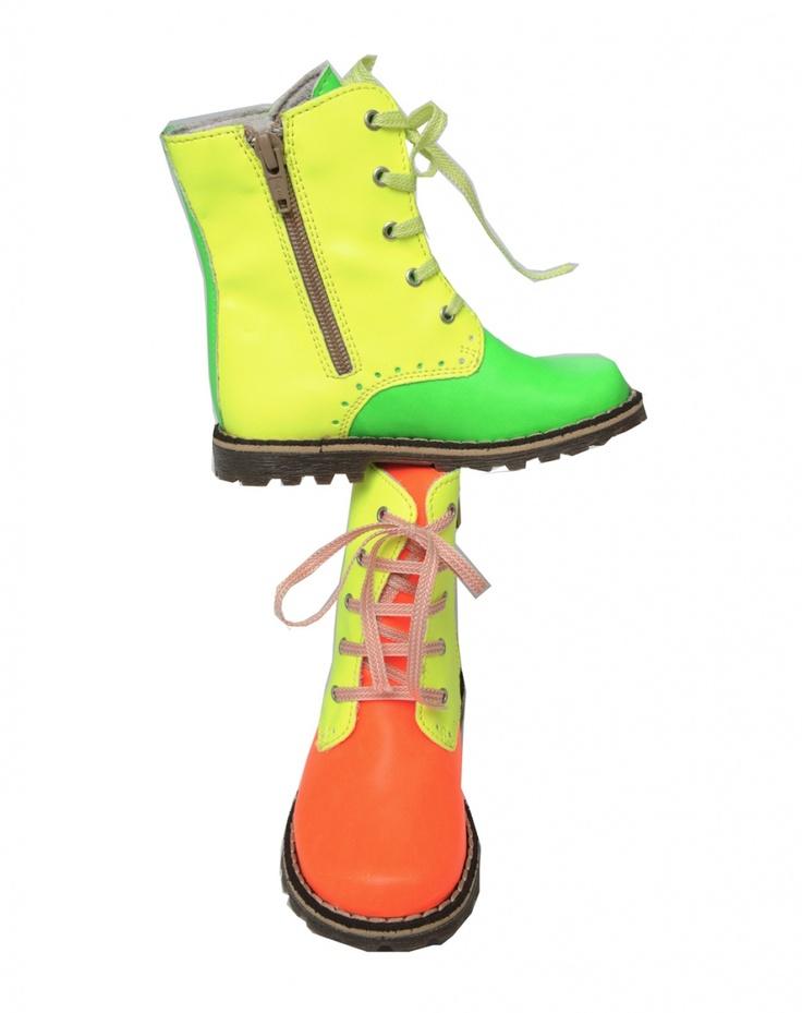 Boots laces oranje-geel Chat Méchant Schoenen Jongen
