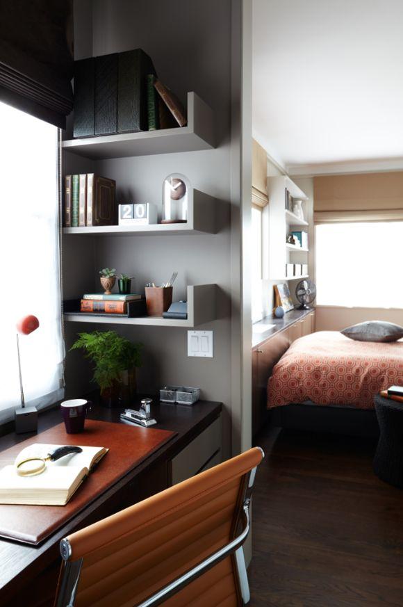 a smoky grey home office nook