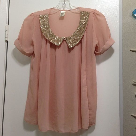 Gold Sequin Collar Blouse 21