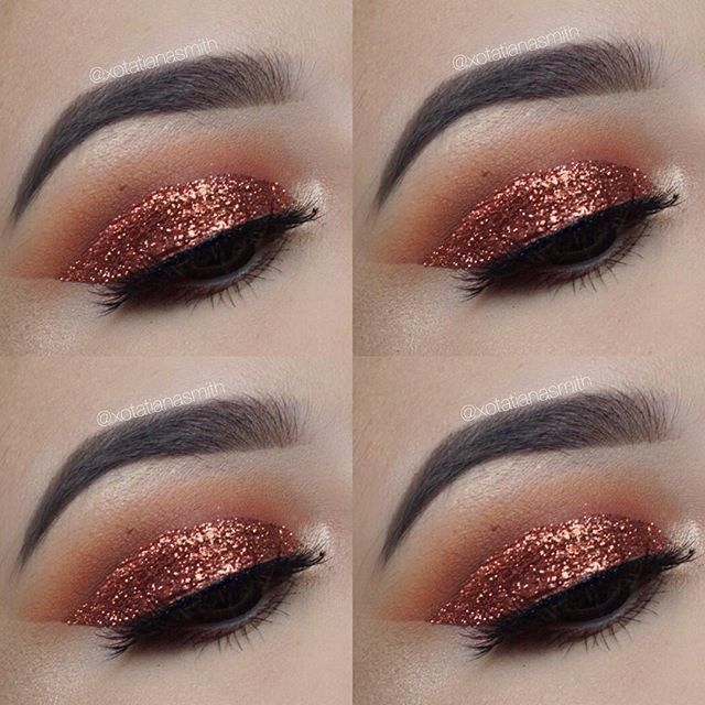 Copper Smokey eye | NYX Glitter ✨ | Fall makeup |