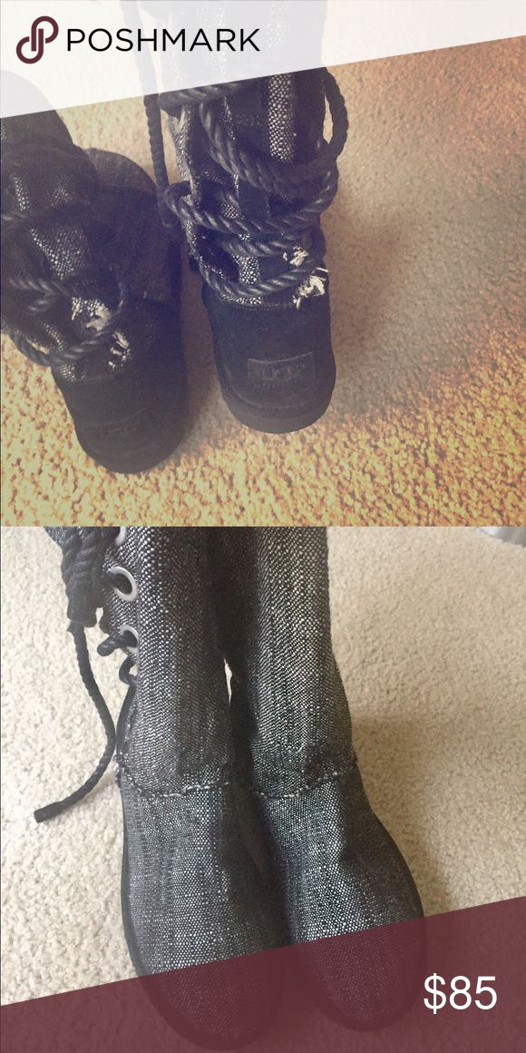 Original Black Jean Uggs, Like know. Original Black Jean Ugg boots, Size 10 but are cut a little small. Like new and yes they are real Ugg boots! UGG Shoes Lace Up Boots