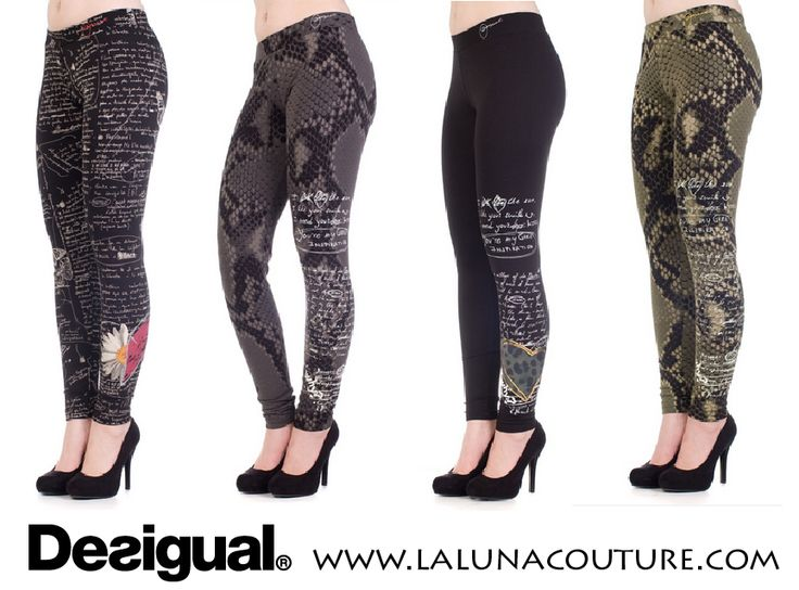 Dare to wear these extraordinary leggings by Desigual! Wear with a long T-shirt and ankle boots and you'll look amazing! Order online now!  https://www.lalunacouture.com/shop-by-brand/desigual  #desigual #leggings #snakeskinleggings #fashionista