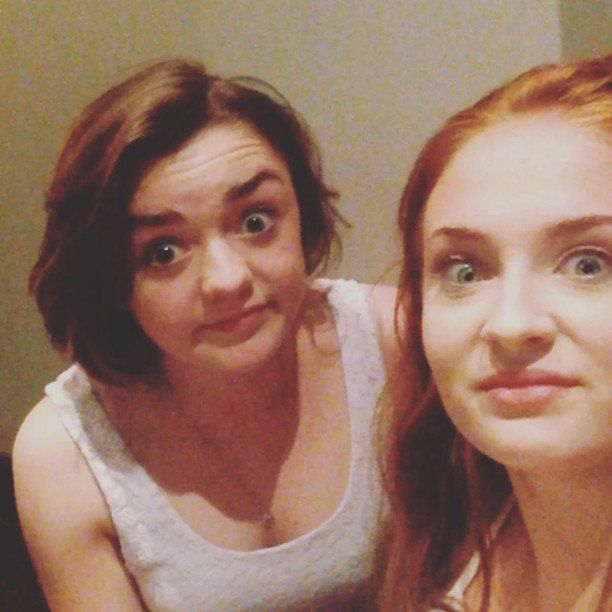 """Pin for Later: Game of Thrones Costars Sophie Turner and Maisie Williams Are the Cutest BFFs  They showed off their singing talent when Maisie tried to sing all the """"Wrecking Ball"""" lyrics in September 2013."""