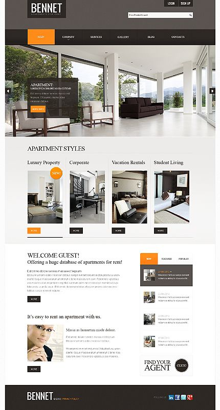 Template 39233 - Real Estate Joomla Website Template With Image Slideshow Animation, Drop Down Menus, Photo Gallery & Blog