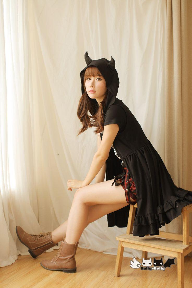 Принцесса сладкая лолита платье угол панк черный дьявол рога с капюшоном длинный кардиган жилет без рукавов платье весна с хвостом QL 0214купить в магазине Loliloli shop for Lolita PrincessнаAliExpress
