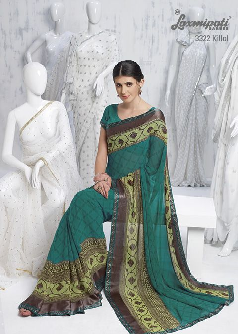 Jacquard printed patti on the both edges of the saree are greatly complimentary to this aquamarine Georgette saree.