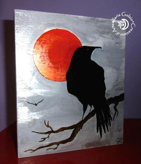 """""""CROWS"""" - Tavola in legno dipinto, si può appendere o appoggiare - Cm. 17 x 20 H x 3"""