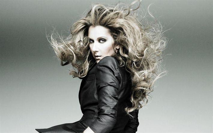 Hämta bilder Celine Dion, Kanadensisk sångare, porträtt, blond, grå kostym, vacker kvinna