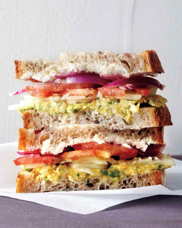 greek salad sandwich // lemony mashed chickpeas, cucumber, tomato, red onion, parsley + feta on olive bread