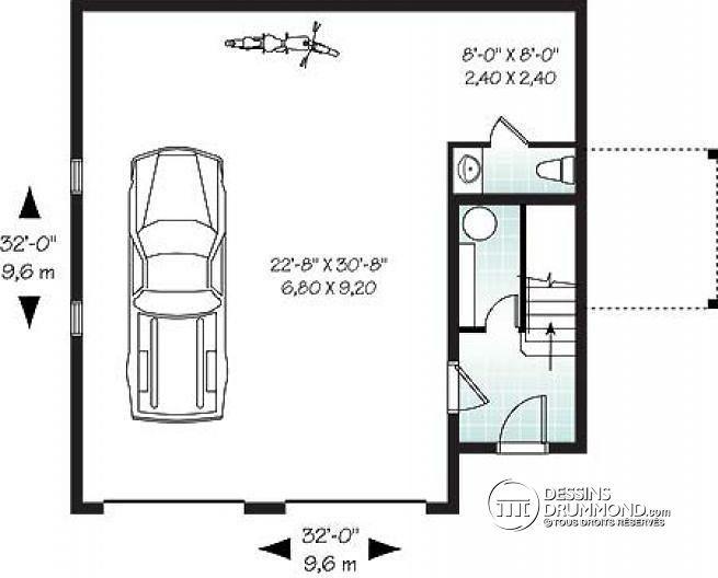 Plan de Rez-de-chaussée Garage avec logement 2 chambres, balcon et espace ouvert - Cronus
