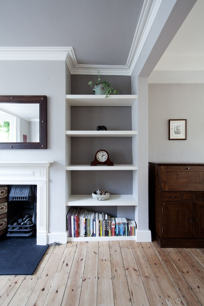 Cornice, shelving and floorboards