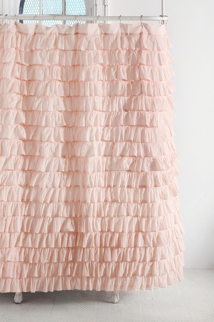 Aww cute :) I have a purple/lavender, vertical ruffled shower curtain from Urban Outfitters, but these ballerina pink, horizontal ruffles are cuter ;) How soft n' sweet for a girly bathroom!