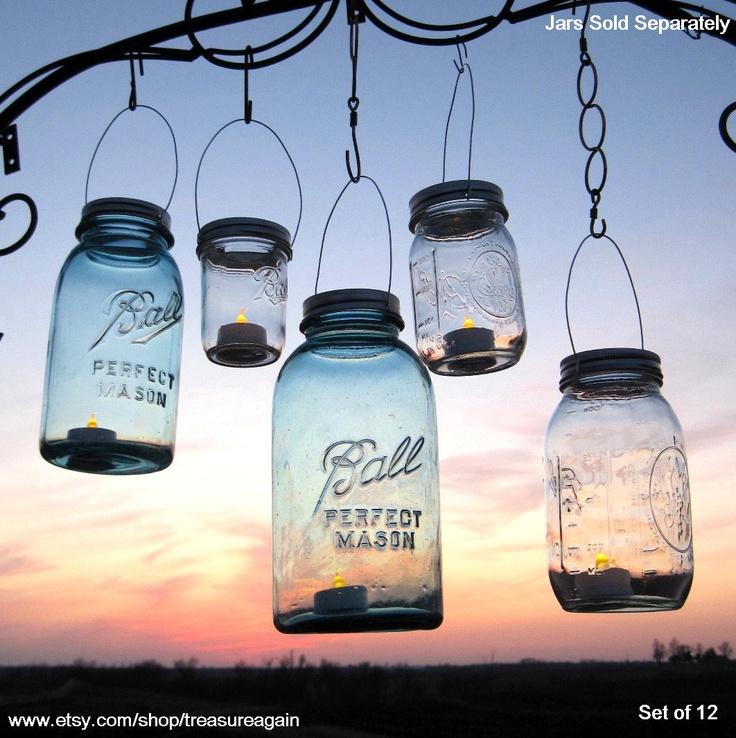 Diy mason jar lantern lids wedding hanging candle holders for Hanging candles diy