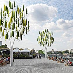 """Vertical wind turbine """"trees"""" - http://news.discovery.com/tech/alternative-power-sources/tree-shaped-wind-turbines-blend-into-the-scenery-141230.htm"""
