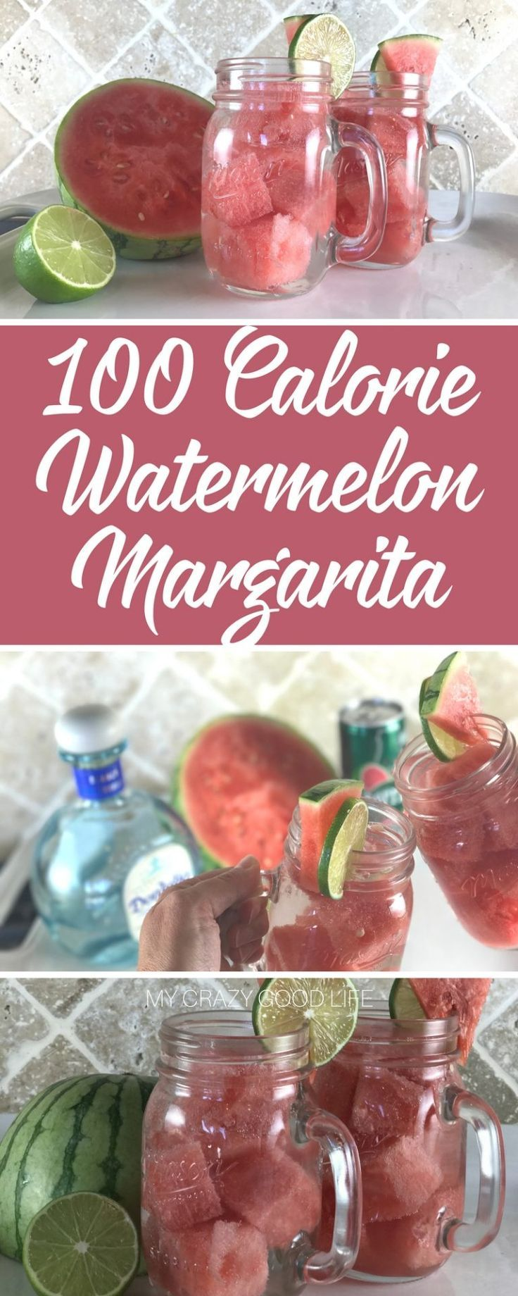 A 100 calorie watermelon margarita is crisp, refreshing, and easy to make. It's great after a long day, also perfect for those poolside afternoons and more! | 21 Day Fix Margarita