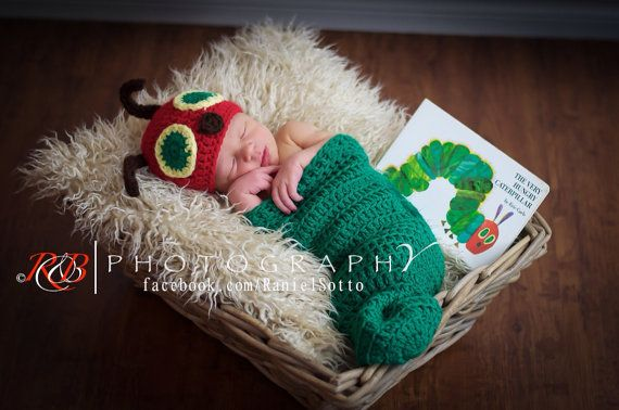 Very HUNGRY CATERPILLAR cocoon and hat - newborn photography prop - baby shower gift- Eric Carle - boy or girl - gender neutral
