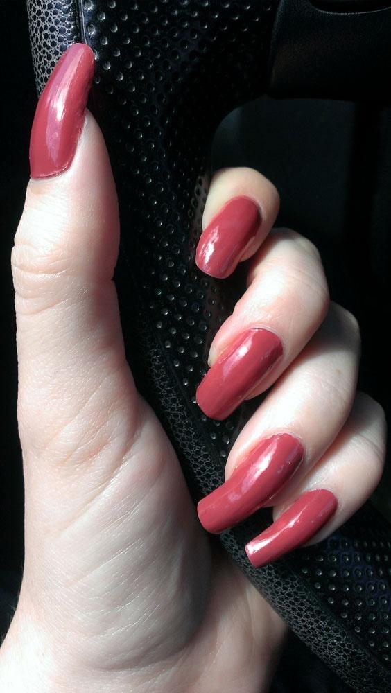 Red polish nail short nails catalog photo