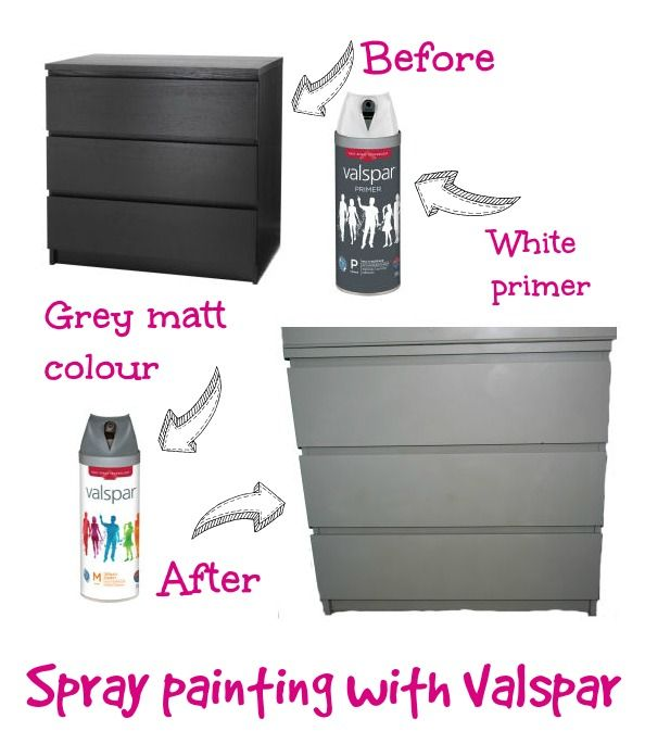 Spray painting Ikea furniture with Valspar
